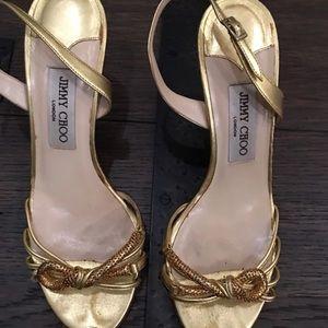 94121b40652 Jimmy Choo Shoes - Jimmy Choo Gold Strappy Sandals